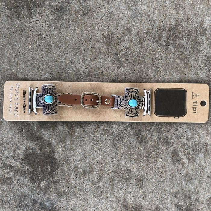 Square Cross Concho Turquoise Leather Apple Watch Band - 38-40mm