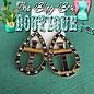 Open Teardrop Cross Serape Print AB Earrings