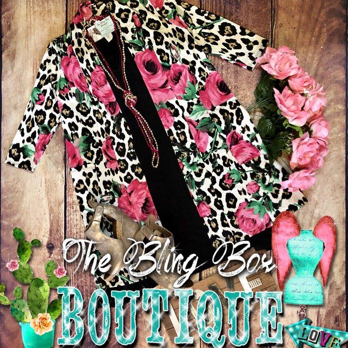 White Leopard Pink Rose Cardigan w/Pockets