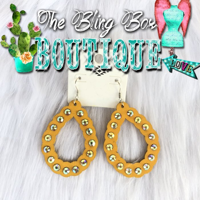 Mustard AB Wooden Open Teardrop Earrings