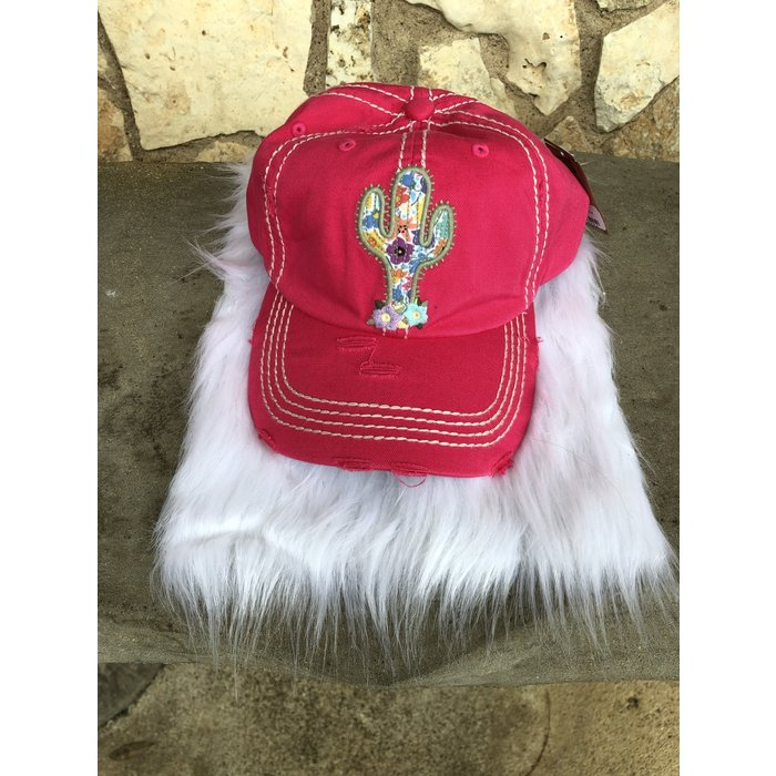 Cactus Embroidered Pink Ball Cap