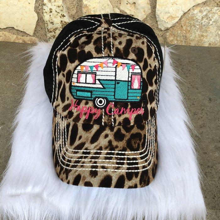 Happy Camper Black Leopard Ball Cap