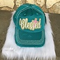 Glitter Blessed Turquoise Ball Cap