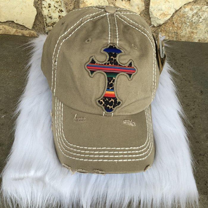 Leopard & Serape Cross Khaki Ball Cap
