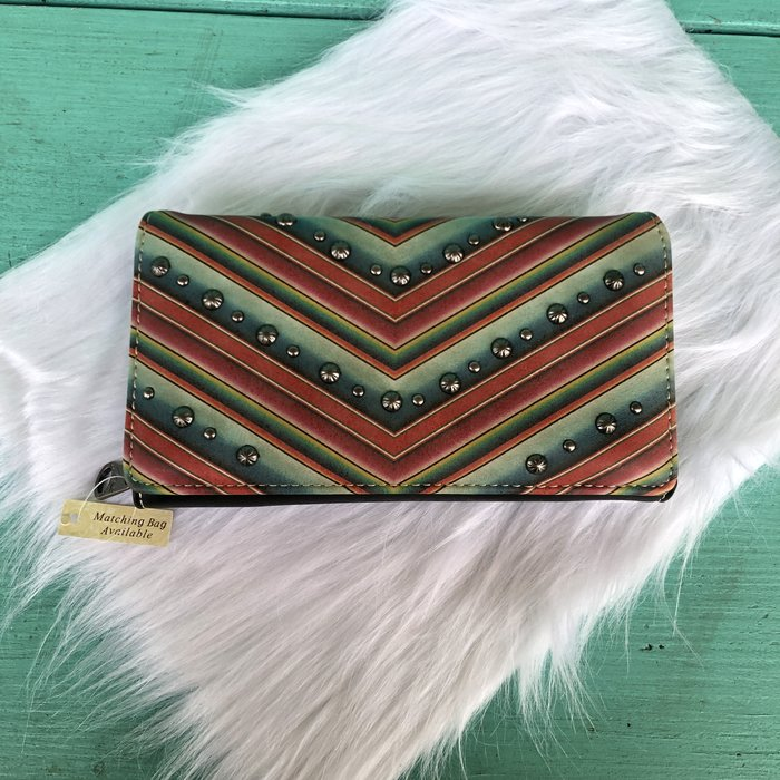 Aztec Serape Printed Leather Wallet