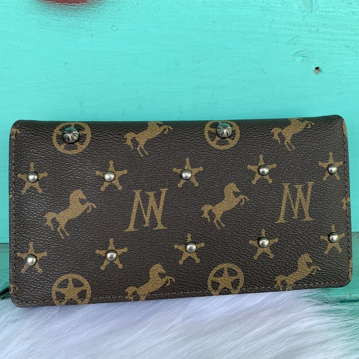 Monogram Chocolate Studded Wallet