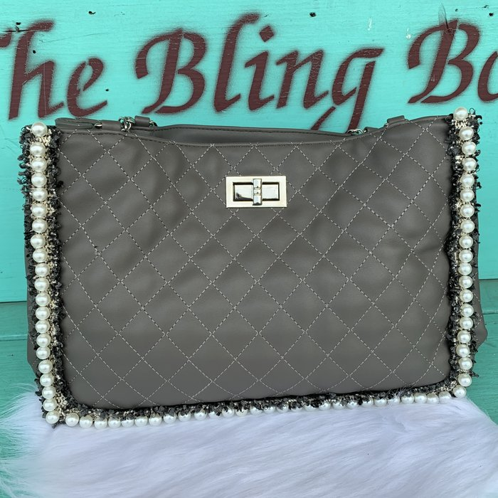 Gray Pearl Trim Quilted Handbag