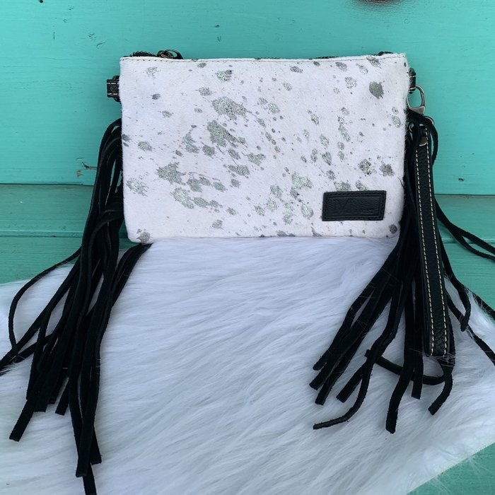 Hair-On Cowhide Leather Fringe Clutch