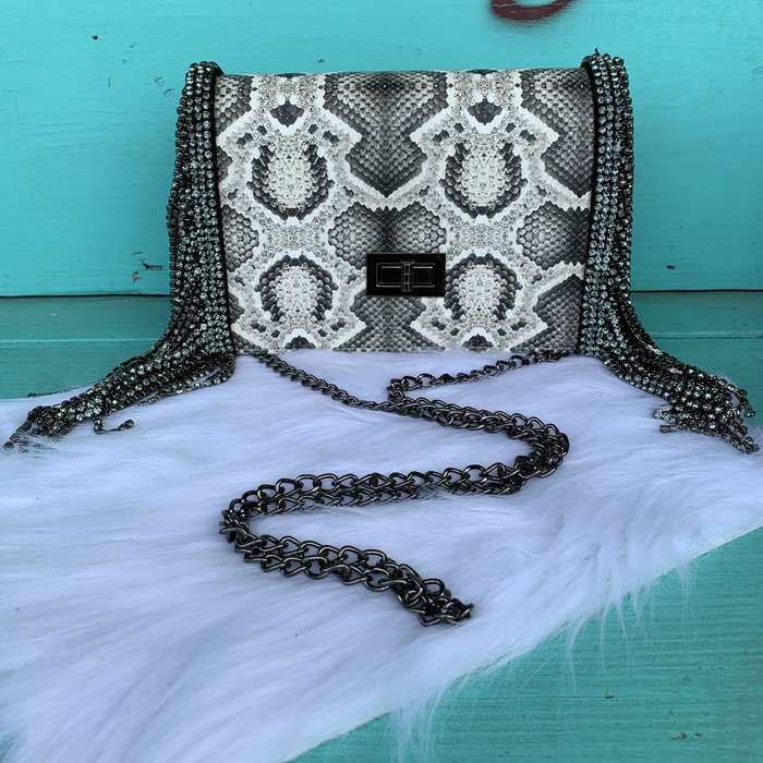 Light Snake Skin Pewter Rhinestone Fringe Clutch with Strap