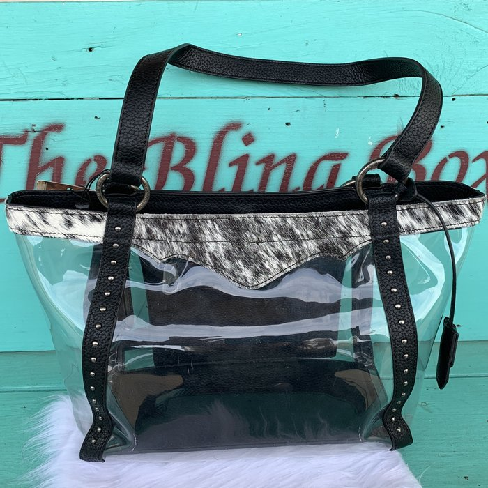 Western Clear Tote Cowhide Bag