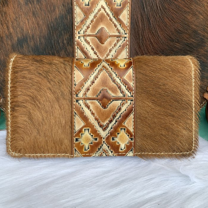 Trinity Ranch Hair-On Hide Secretary Style Wallet Brown