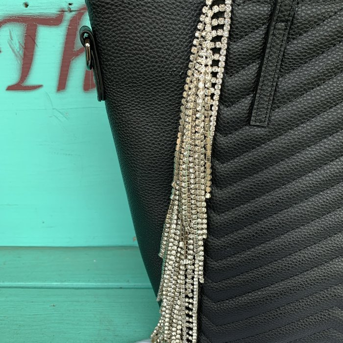 Black Clear Rhinestone Fringe Tote Bag