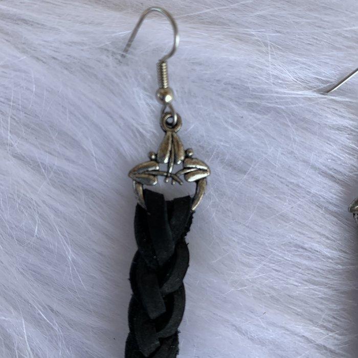 Black Braided Leather Custom Earrings