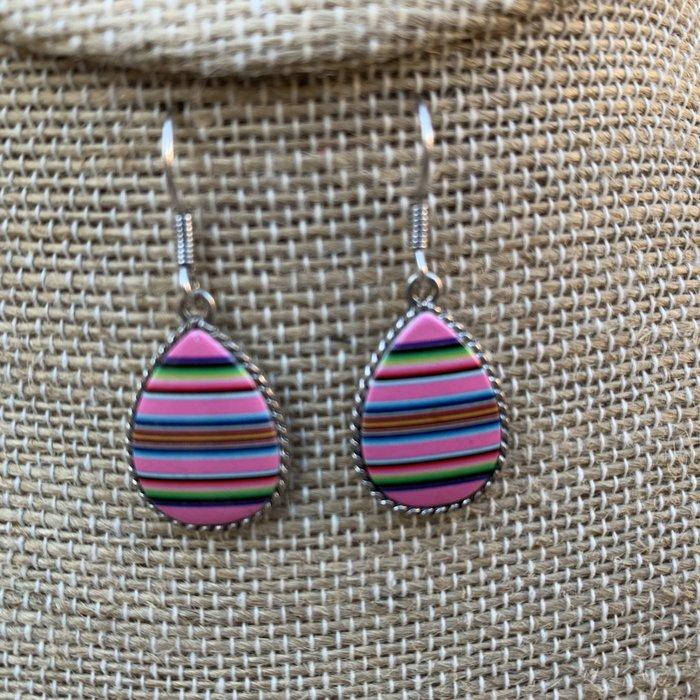 Pink Serape Small Teardrop Earrings