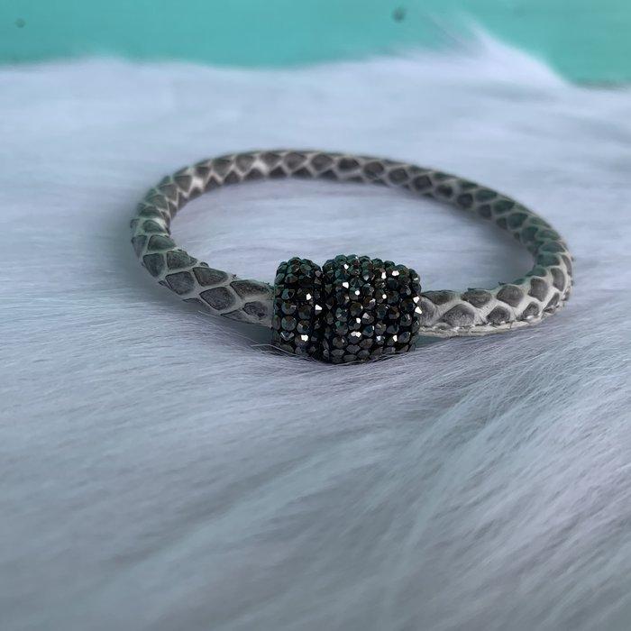 Snake Skin Pave Magnetic Leather Bracelet