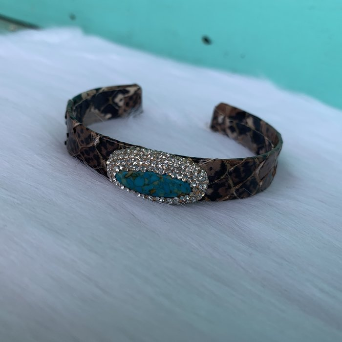 Brown Snakeskin Print Turquoise Pave Stone Cuff Bracelet