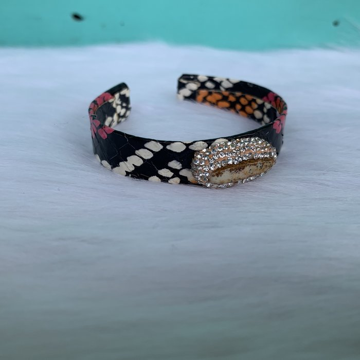 Multi Snakeskin Gemstone Pave Stone Cuff Bracelet