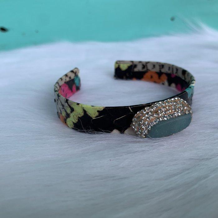 Turquoise Snakeskin Black Onyx Pave Stone Cuff Bracelet