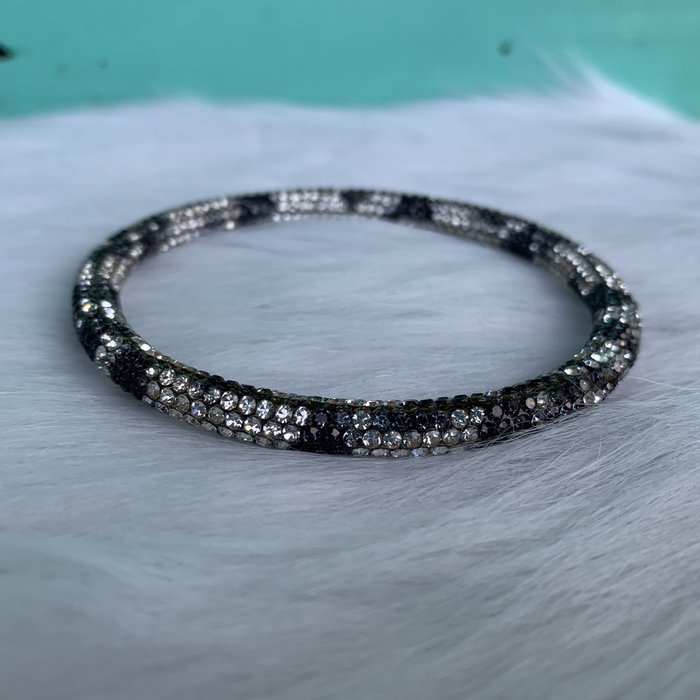 Black Leopard & Rhinestone Single Bangle Bracelet