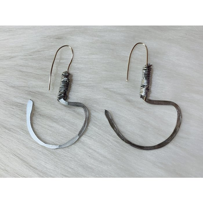Bonnie Angela Industrial Silver Hoop Hammered Custom Earrings