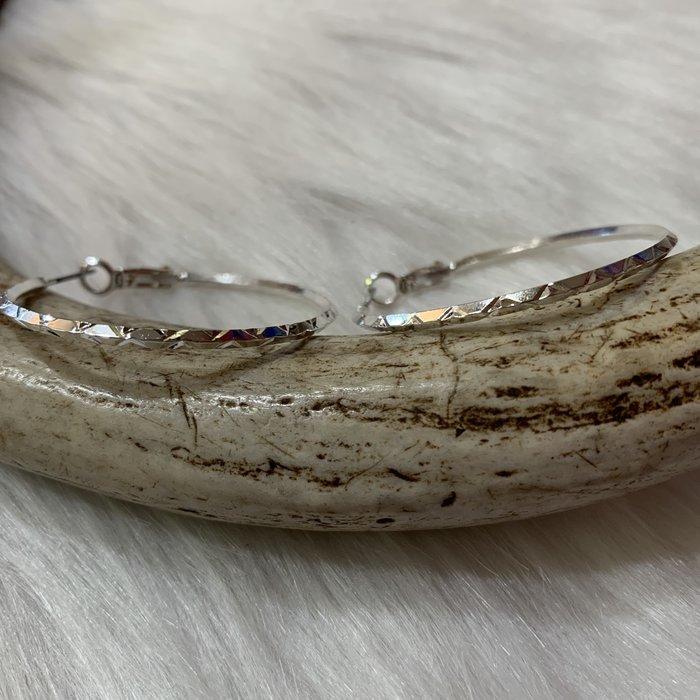 Medium Silver Diamond Cut Hypo Allergenic Hoops