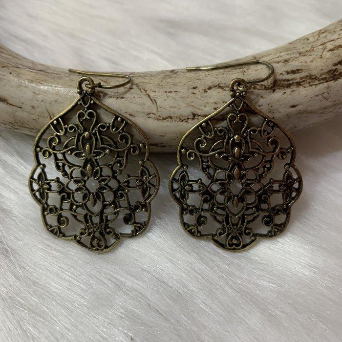 Bronze Filgree Damask Earrings