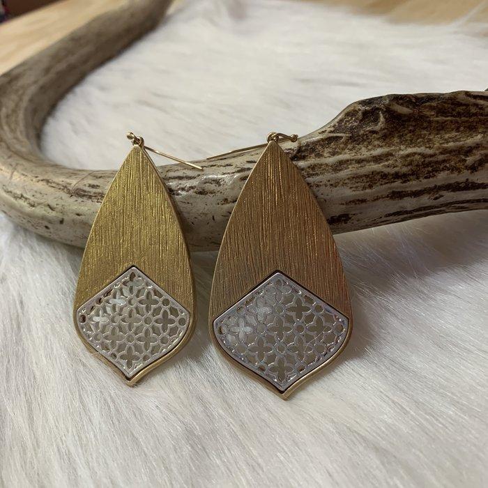 Teardrop Metal Filgree Gold & Silver Earrings