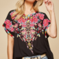 Black Bright Floral Embroidered Tunic