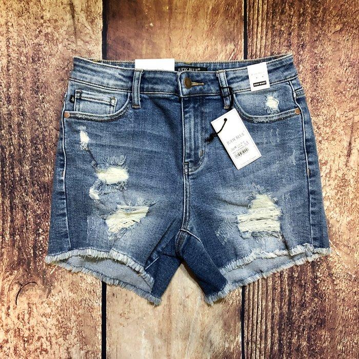 Judy Blue Stone Wash Distressed High Waist Shorts