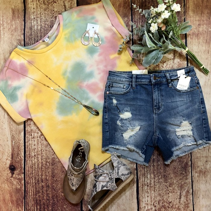 Tie Dye Spring Mix French Terry Short Sleeve Top