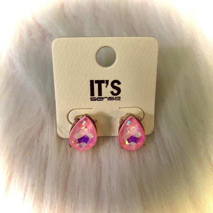 Pink AB Crystal Teardrop Stud Earrings