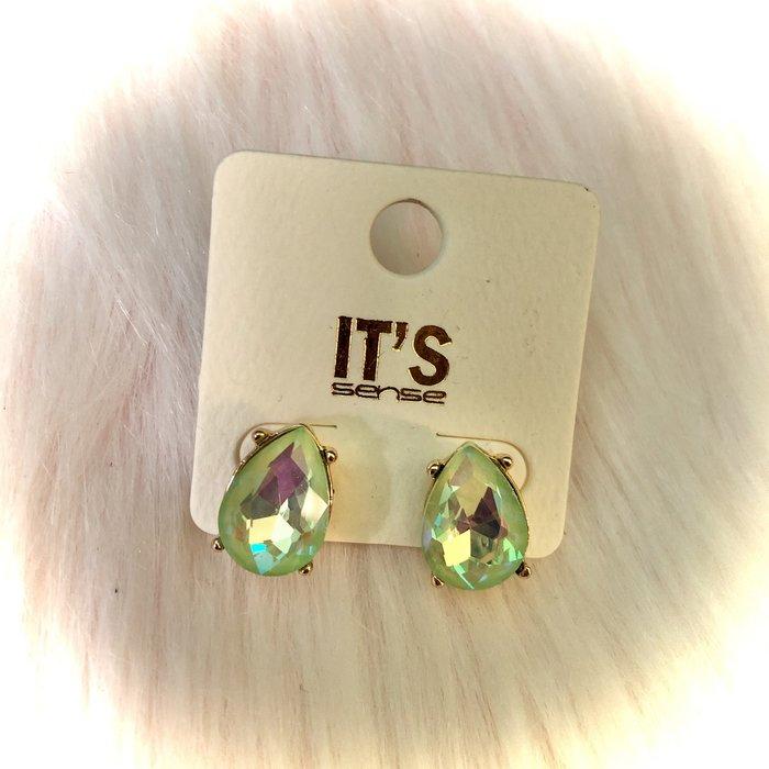 Mint AB Crystal Teardrop Stud Earrings
