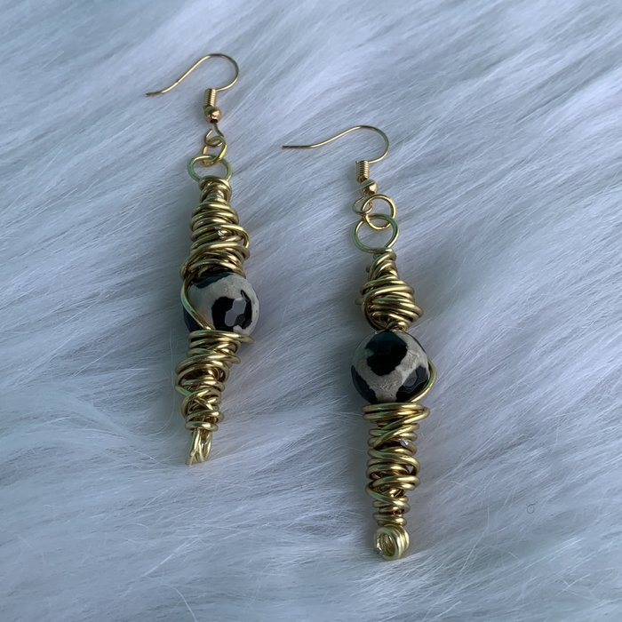Handmade Gold Wired Leopard Stone Earrings