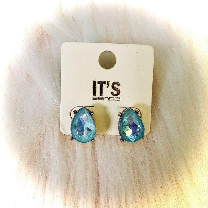 Light Blue AB Crystal Teardrop Stud Earrings