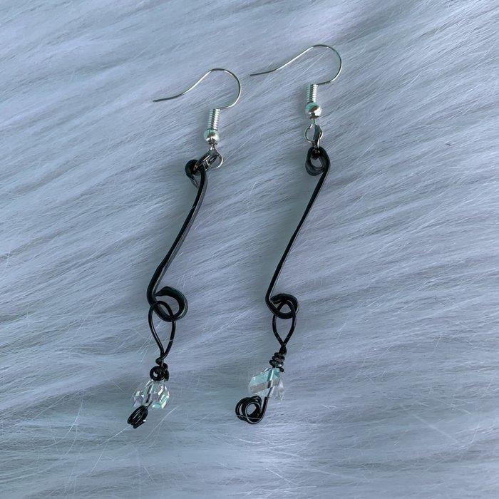 Bonnie Angela Black Medium Titanium Clear Crystal Earrings
