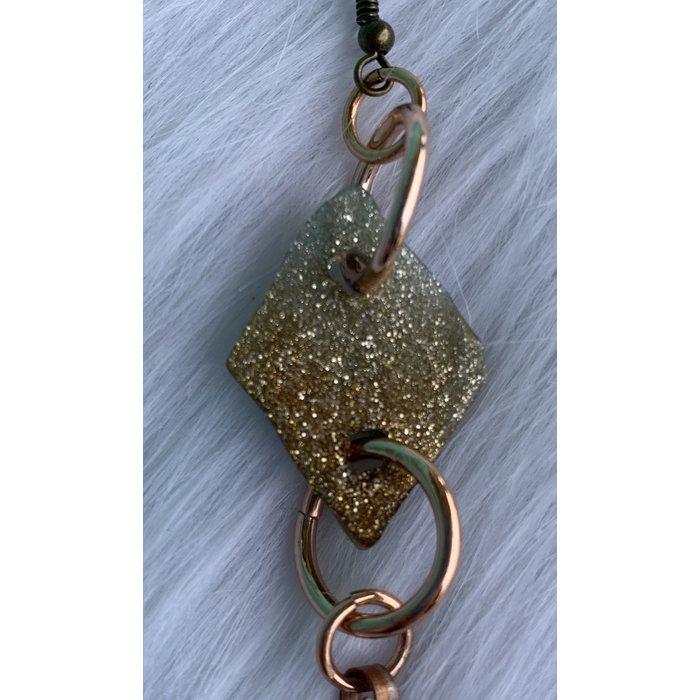 Silver Clay Copper Bonnie Angela Hand Made Earrings