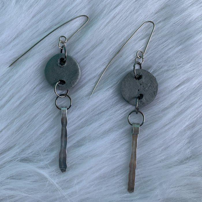 Clay Silver Bonnie Angela Hand Made Earrings