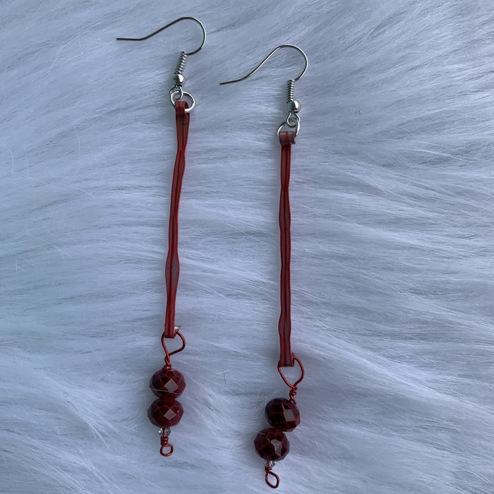 Bonnie Angela Long Red Titanium Crystal Earrings