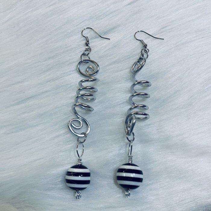 Bonnie Angela Silver Corkscrew Black Striped Earrings