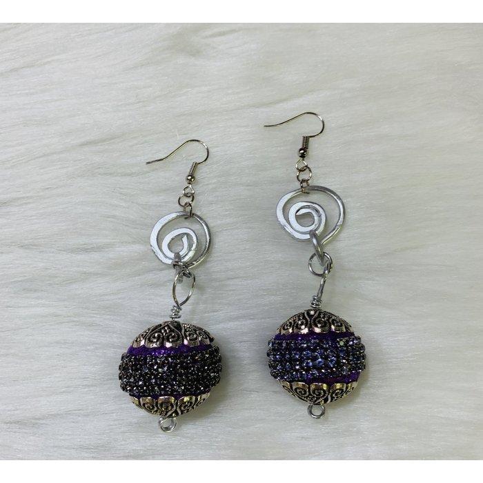 Purple Rhinestone Ball Silver Swirl Titanium Earrings