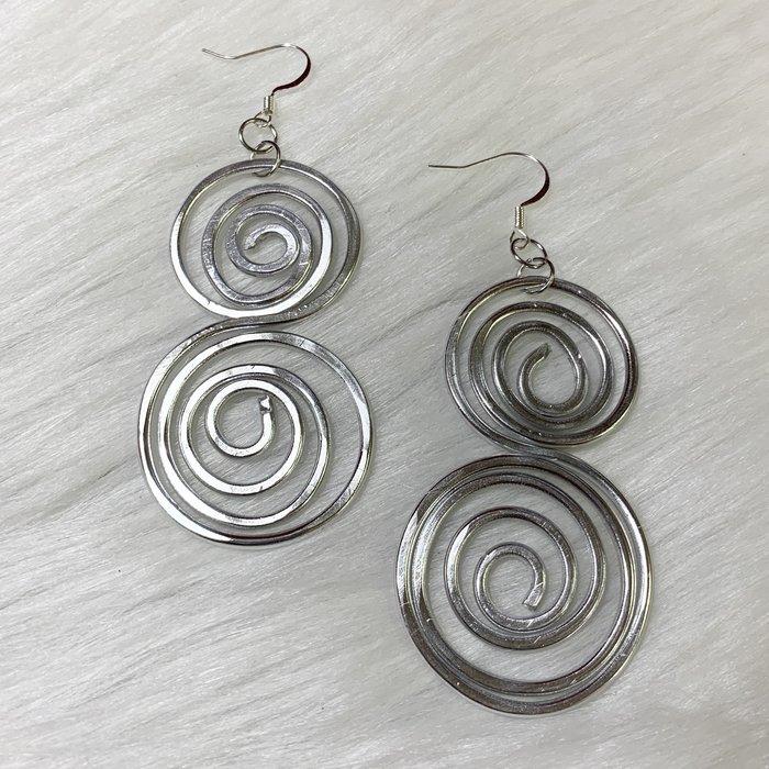 Silver Flat Swirl Titanium Earrings