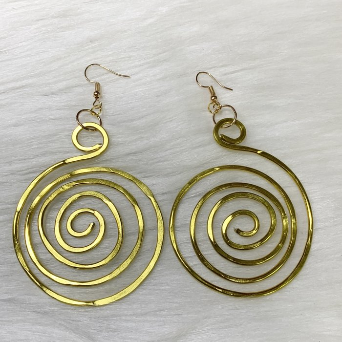 Bonnie Angela Large Gold Swirl Custom Earrings