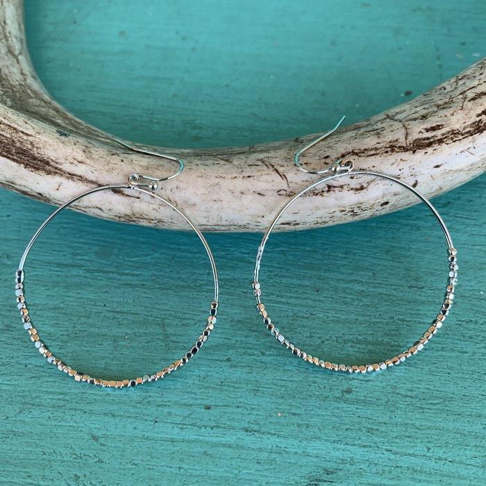 Silver Beaded Hoop Dangle Earrings