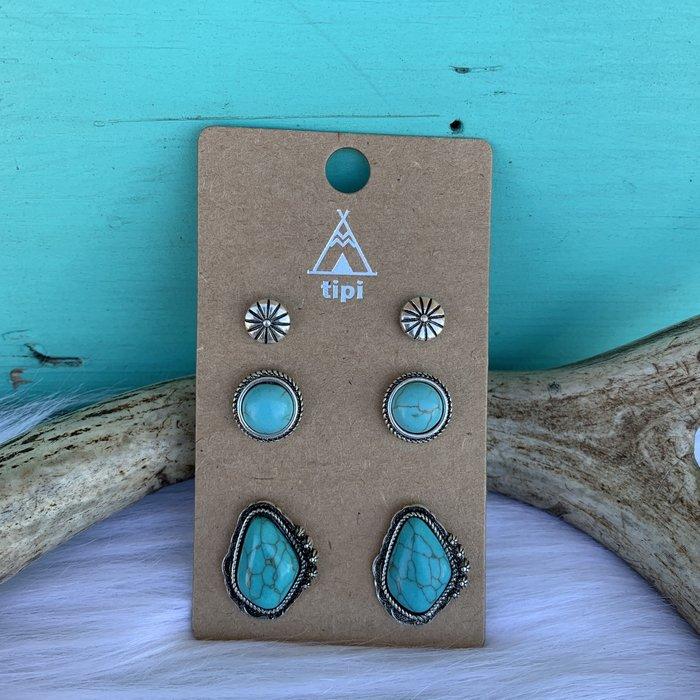 3-Piece Turquoise Large Stone Concho Stud Set