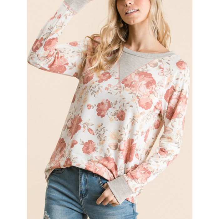 Ivory Floral Long Sleeve Top