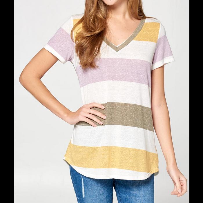 Lavendar Striped Short Sleeve V-Neck Top
