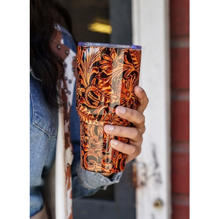 Tooled Leather Print 32 Oz. Tumbler Cup