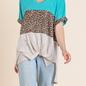 V-Neck Turquoise Leopard Color Block Top