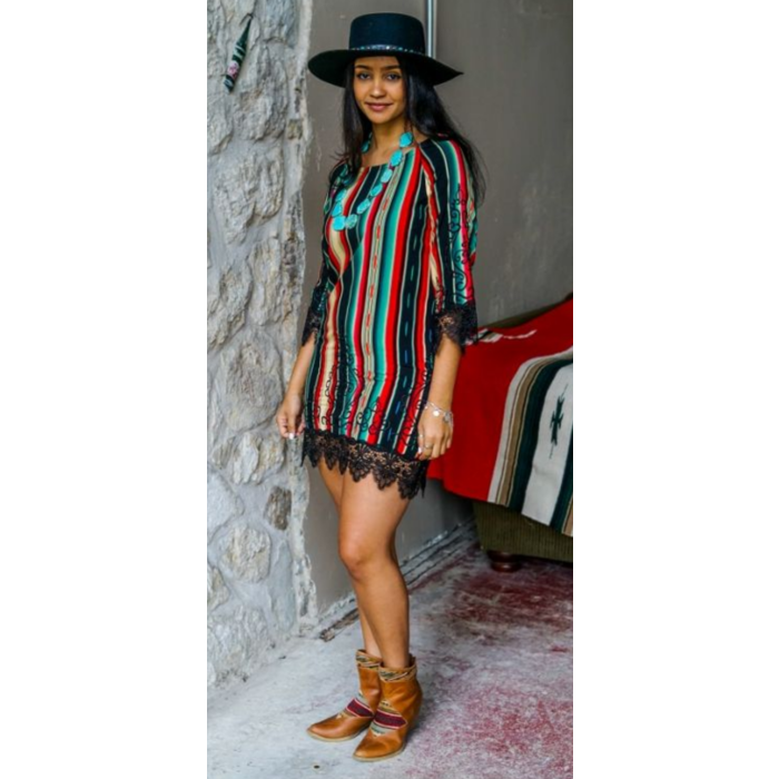 Black Serape Lace Trim Embroidered Dress