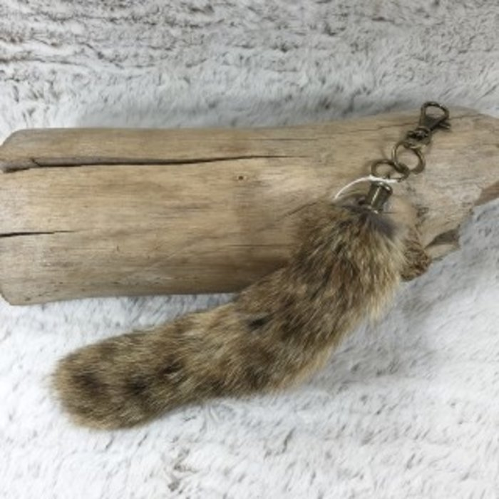 Small Brown Fox Tail Keychain